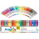 AmazaPens Gel Coloring Pens - 40 Pack Super Glitter   150% More Ink than Other Sets   Best for Adding Sparkle to Your Adult Coloring Books and Art Projects