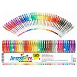 #1: Gel Coloring Pens by AmazaPens - 40 Pack Super Glitter | 150% More Ink than Other Sets | Best for Adding Sparkle to Your Adult Coloring Books and Art Projects