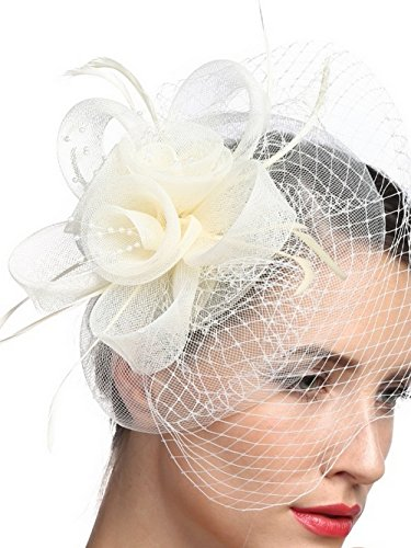 Tea Party Derby Fascinator Pillbox Hat Vintage Hairclip Accessories for Women with Flower Feathers Net and (Kate Middleton Costume Halloween)