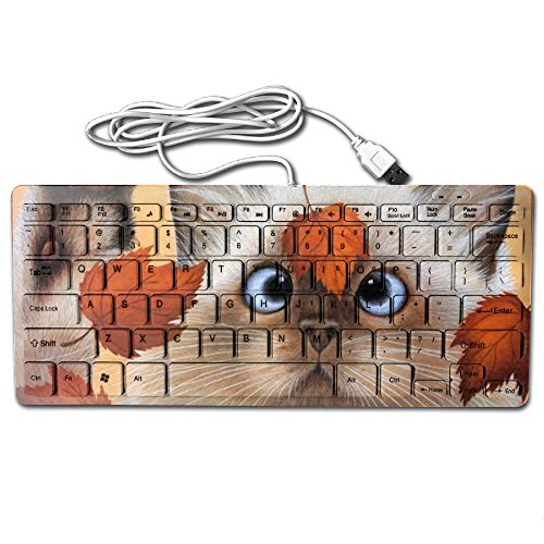 Mortal Dream Ultrathin Mini Keyboard Kitten And Leaves Wired Gaming Keyboard Computer Accessories Keyboards For (Personalized Leaf Seals)