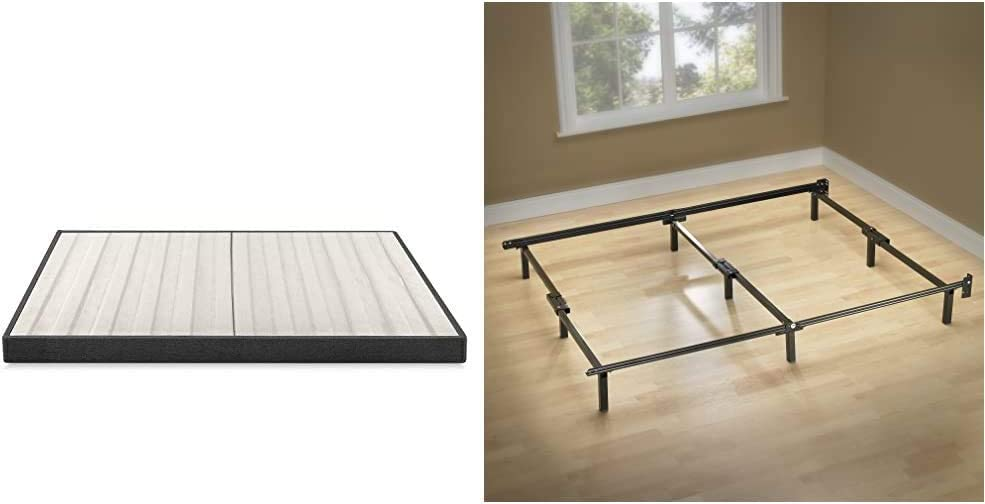 Zinus Daniel 4 Inch Essential Box Spring/Mattress Foundation/Easy Assembly Required, Queen & Michelle Compack 9-Leg Support Bed Frame, for Box Spring and Mattress Set, Queen