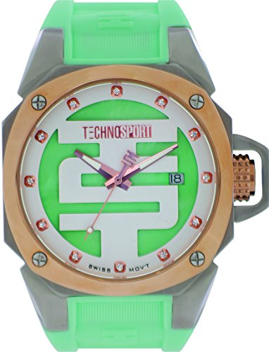 TechnoSport TS-102-9 Womens Aquamarine Silicone Band, Gold Bezel, 40MM Aqua and White Dial,Stainless Steel 3 Hand Watch