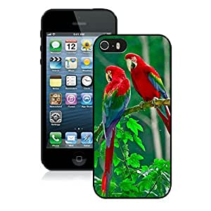 Beautiful Designed Case With Parrots Paradise Black For iPhone 5S Phone Case