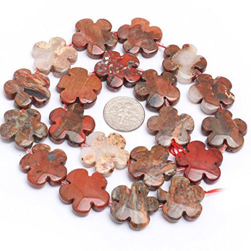Mixed Red Jasper Beads for Jewelry Making Natural Gemstone Semi Precious 20mm Flower 15