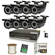 Amview 8 Channel iPhone Network Access 1080P DVR CCD 72 Infrared LED Night Vision Outdoor Security Camera +1000GB