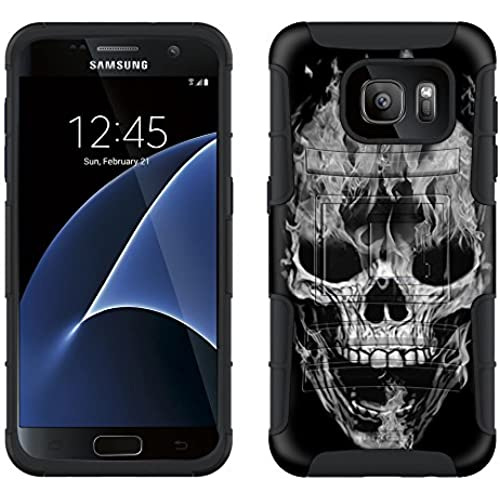 Samsung Galaxy S7 Armor Hybrid Case White Flaming Skull on Black 2 Piece Case with Holster for Samsung Galaxy S7 Sales