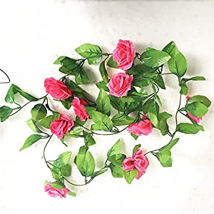 HY 8 Feet Pack of 2PCS Artificial Fake Silk Rose Flower Ivy Vine Hanging Wedding Décor Party Home Garden Supermarket Decoration 8 Colors 17