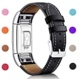 For Fitbit Charge 2 Replacement Bands, Hotodeal Classic Genuine Leather Wristband With Metal Connectors, Fitness Strap for Charge 2