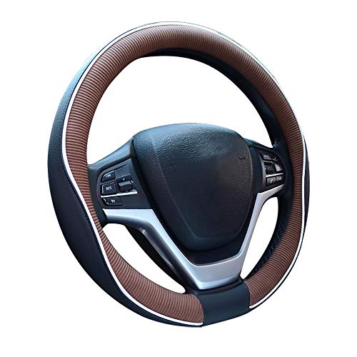 Charmchic White Stitching Black and Tan Microfiber Leather Steering Wheel Cover for Girl Men and Women Universal Fit 15 Inch Car Anti-Slip Odorless Sport Design Protect Hand from Applicable to Accord ()