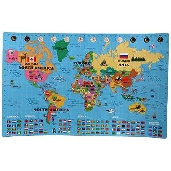 Amazon Com Incstores Large 60 Piece World Map Interlocking Foam Playmat 4 X 6 5 Toys Amp Games