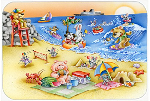Caroline's Treasures APH6822LCB Animals Swimming At The Beach Glass Cutting Board, Large, Multicolor