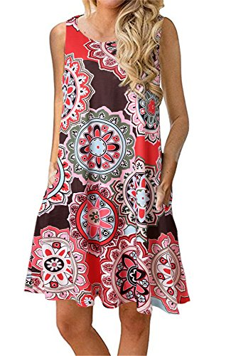 Summer Beach Dresses for Women Tshirt Sundresses Boho Casual Sleeveless Floral Shift Pockets Swing Loose Damask Deep Coffee Medium (Sundress Sleeveless Dress)