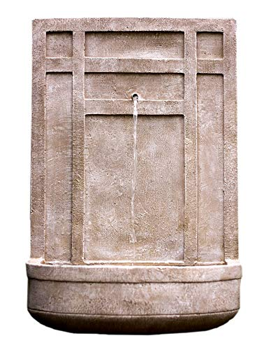 - The Sicily - Outdoor Wall Fountain in Parchment Beige - Water Feature for Outdoor Living Space and Garden Enhancement