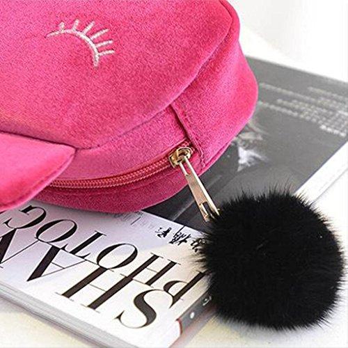 HuntGold 1X Frauenkosmetik Kulturbeutel Reißverschluss Kupplung Geldbörse Geldbörse Handtasche (rosa)
