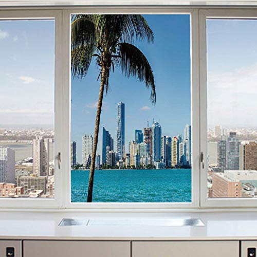 3D Decorative Privacy Window Films,Miami Downtown with Biscayne Bay Buildings and Palm Tree Panoramic,No-Glue Self Static Cling Glass Film for Home Bedroom Bathroom Kitchen Office 17.5x36 Inch ()