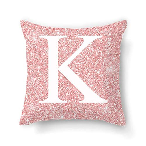 ÔNBAY Household Pink Letter Pattern Pillowcase Alphabet Cushion Case Pillowcases
