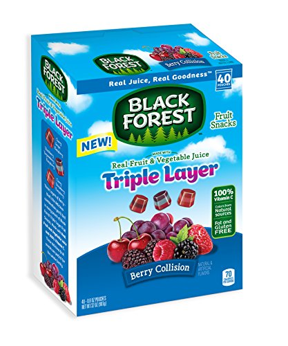 Black Forest Triple Layer Fruit Snacks, Berry Collision, 0.8 Ounce Bag, Pack of 40