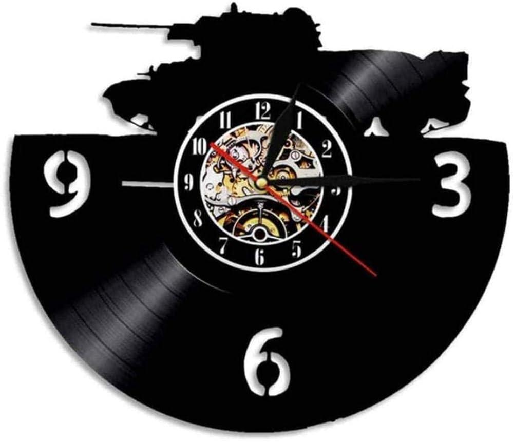 zgfeng Tank Art Reloj de Pared Tanque Militar Disco de Vinilo Reloj de Pared blindado Guerra de la Tierra decoración del hogar Regalo de Soldado-con LED
