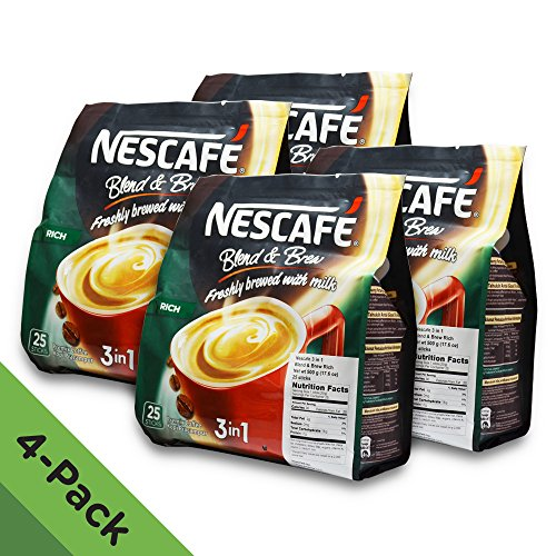 4 PACK - Nescafé 3 in 1 RICH Instant Coffee (100 Sticks TOTAL) ★ Made from Premium Quality Beans ★ Offers a Relaxing Flavor But with Strong, Solid Essence and Aroma ★ Has a Richer Taste than Nescafé 3 in 1 Original ★ Serve Hot or Cold ★ From N