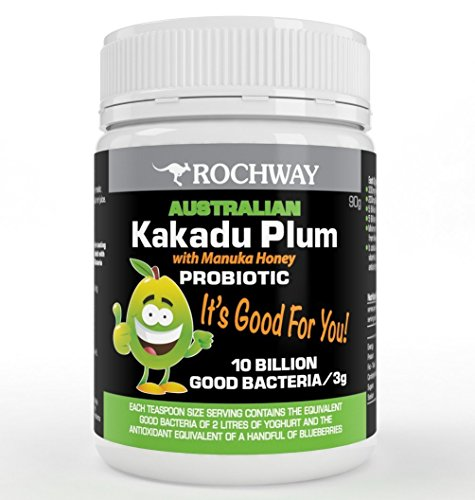 Rochway Australian Kakadu Plum with Manuka Honey Probiotic Powder. L Acidophilus and L Plantarum. Sizzling Taste, Naturally Loaded with Vitamin C. Best Probiotics for Kids and Adults,90g