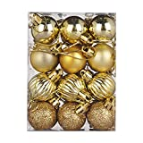 Dermanony 24 Pcs/Pack of 30mm Christmas Ball Xmas Tree Glitter Bauble Hanging Ball Home Party Ornament Decorations Gold