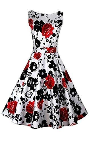 ACEVOG 50s Hepburn Style Vintage Sleeveless Floral Swing Dress,Red,Medium