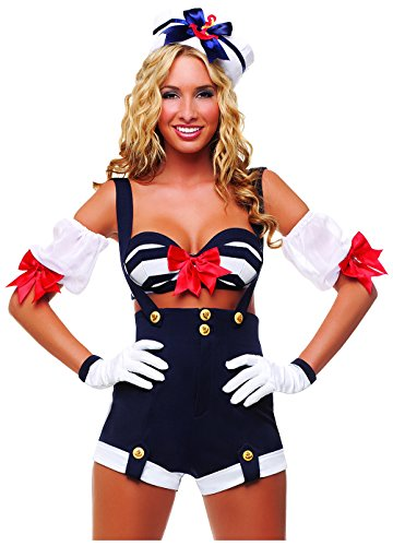 Starline Women's Makin' Waves Sexy Sailor Costume Set, Blue, Small (Makin Waves Halloween Costume)