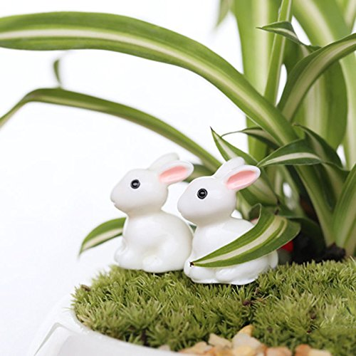 BESTIM INCUK Miniature Fairy Garden Rabbit Statue Home Decoration Outdoor Decor,Set of 2