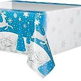 "Unique Snowflake Christmas Plastic Tablecloth, 84"" x 54"", Blue/Silver"