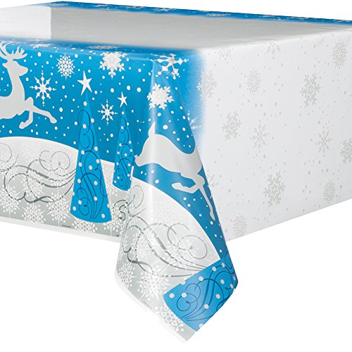 Silver Snowflake Christmas Plastic Tablecloth, 84