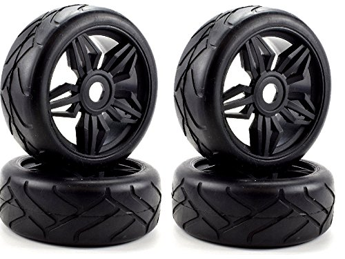 Apex RC Products 1/8 On-Road Black Diamond Wheels & Super Grip Tires - Set Of 4 #6025