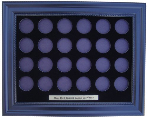 Tiny Treasures, LLC. Black Display Frame for 24 Hard Rock Las Vegas Chips (Not Included)