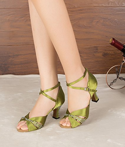en de Sandales Minitoo femme green soirée tendance Maille épaisse Satin Med pour talon xv4RCfx
