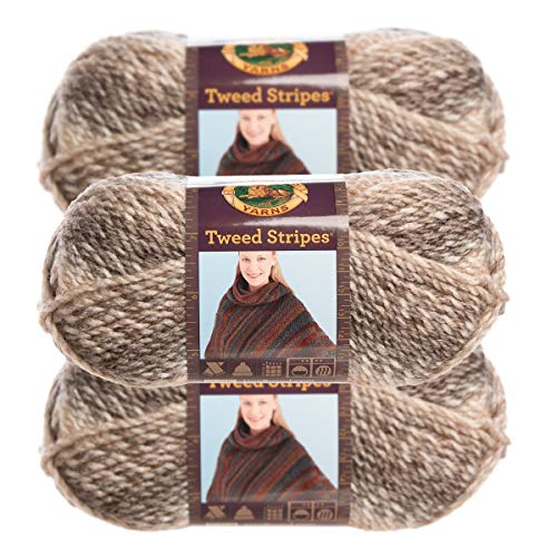 Lion Brand Yarn (3 Pack) Chunky Yarn Acrylic 100 Percent Soft Caramel Brown Yarn for Knitting Crocheting Bulky #5