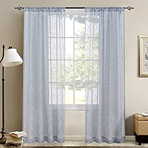 Embroidered Sheer Curtains for Living Room Blue Curtain Set Moroccan Tile Window Treatments Lattice Geometric Quatrefoil Embroidery Semi Sheer Curtains for Bedroom, 2 Panels