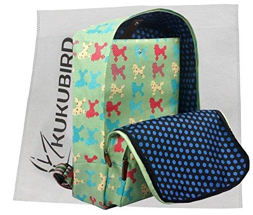 Kukubird Mixta Lienzo Mate Perro Impresión Portátil Mochila Mochila Con Bolsa Kukubird Green