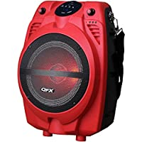 QFX PBX-710700BTL-RD Portable Bluetooth Party Speaker, Red