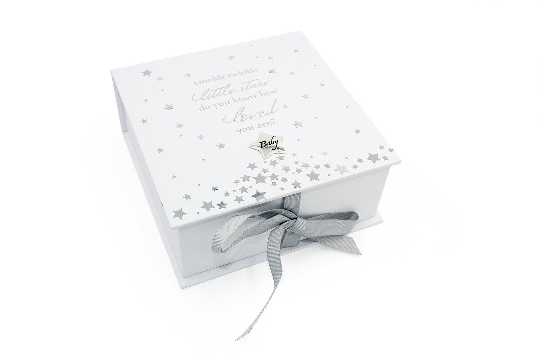 Caja de recuerdos de bebé de Twinkle Twinkle Little, diseño de pequeñas estrellas con iconos, regalo de bebé y bolsa de regalo WBL WBLCG1428TT