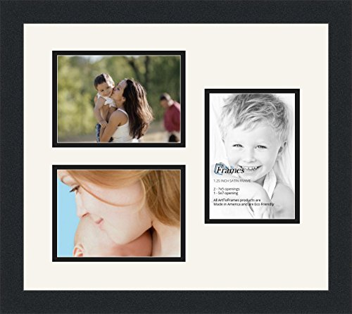 (ArtToFrames Collage Photo Frame Double Mat with 3 - 5x7 Openings and Satin Black Frame)