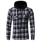 PASATO Classic Men's Autumn Winter Long Sleeved Plaid Hooded Shirt Top Blouse Clearance Sale(Navy, S=US:XS)
