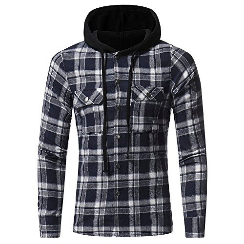 PASATO Classic Men's Autumn Winter Long Sleeved Plaid Hooded Shirt Top Blouse Clearance Sale(Navy, S=US:XS) by PASATO