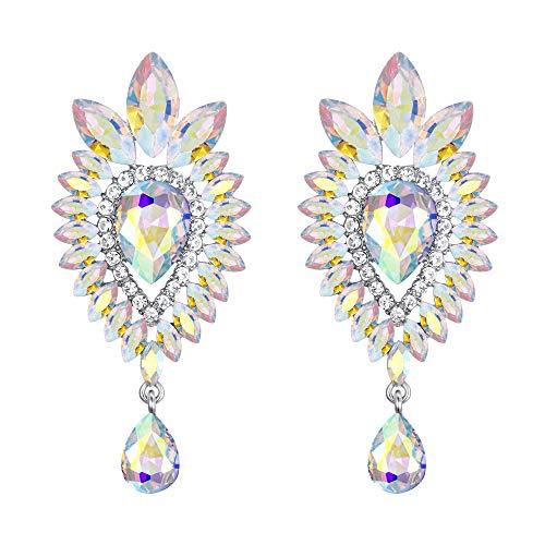 BriLove Women's Tribal Ethnic Crystal Teardrop Halo Chandelier Dangle Earrings Iridescent AB Silver-Tone ()