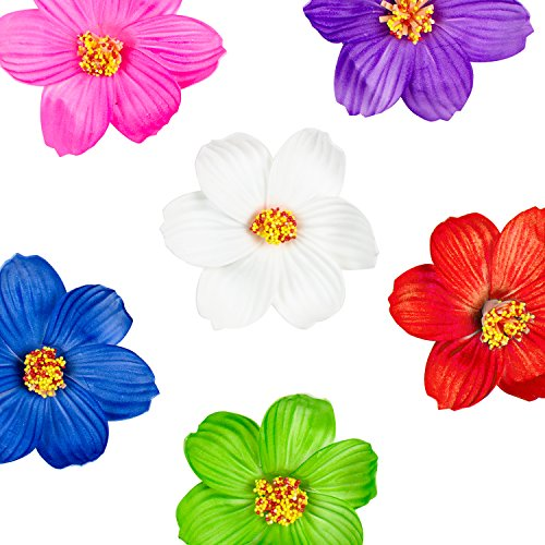 Hula Girl Paper Foam Hibiscus Color Assorted Flower Lei Hawaiian Island Rainforest Theme Hair Clips for Costume, Birthday Party Favors, Event Decoration Supplies (12 Pack)