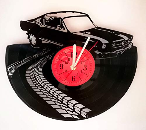 Ford Mustang Wall Clock Made from 12 inches / 30 cm Vintage Vinyl Record | Ford Mustang Gift for Men Boys Husband | Sport Clock | Ford Mustang Merchandise