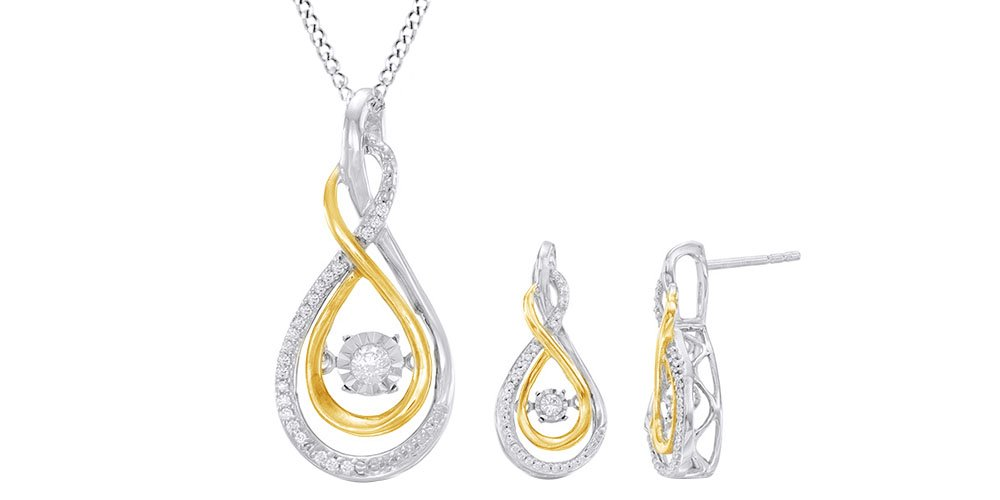 Dancing Natural Diamond Infinity Jewelry Set In 14K Yellow Gold Over Sterling Silver (1/4 Ct)