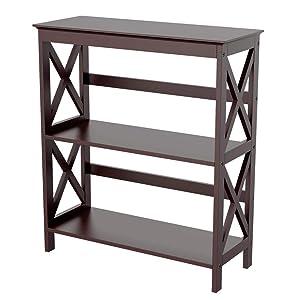 Yaheetch 3 Tier Bookcase Storage Bookshelf X-Design Wooden Displaying Rack, Espresso