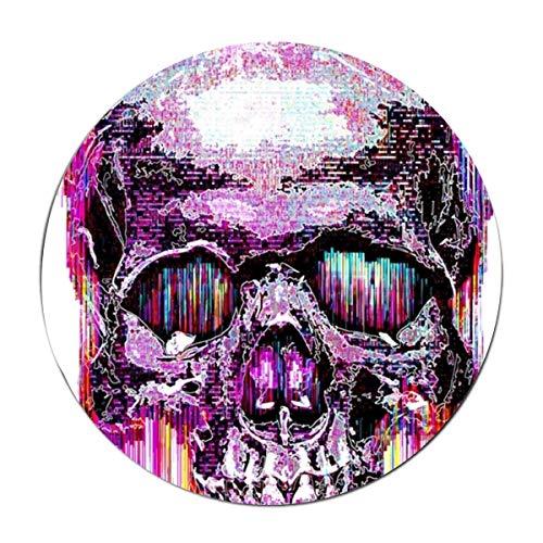JONHBKD Glitch Skull Round Rug, Art Deco Non-Slip Backing Machine Washable Round Area Rug -