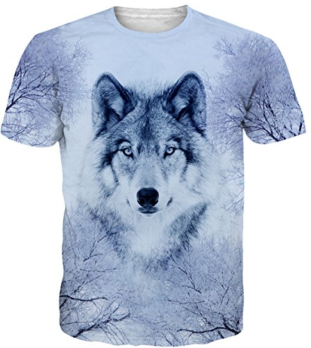 Belovecol Teens Wolf T Shirts Short Sleeve 3D Print Graphic Animal Tee Shirts Tops S -