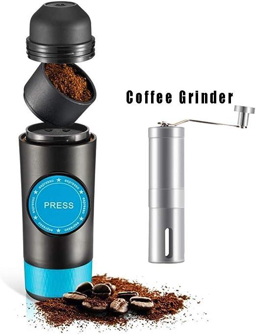 B&H-ERX 2 en 1 Cápsula y Espresso molido Mini Máquina de Viaje fácil Cafetera portátil Extracción en Caliente y en frío Máquina de fabricación de café en Polvo eléctrico USB (actualizado),Negro,B: Amazon.es: