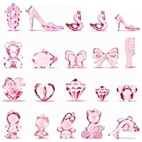 IVLWE Various Big Size Pink Cartoon Crystal Animal Gems Toys, Girl Princess Plastic Acrylic Crystal Diamond, Fruit…